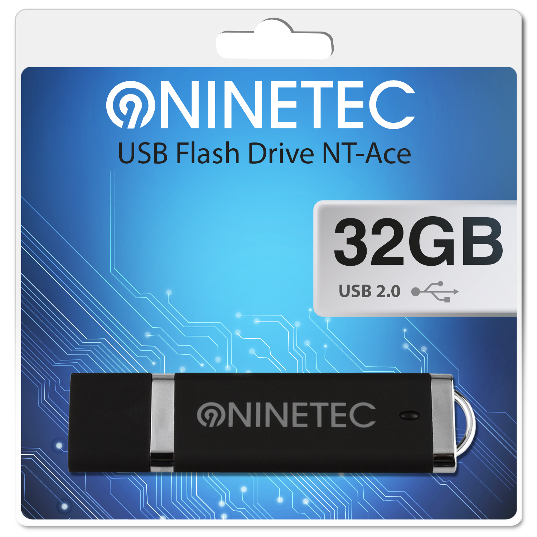 NINETEC Ace 32 GB 2.0 USB Speicher Stick Schwarz