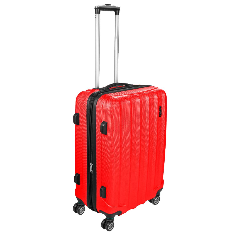 Shaik Trolley-Koffer aus formstabiler, kratzfester Hartschale L Rot SH001