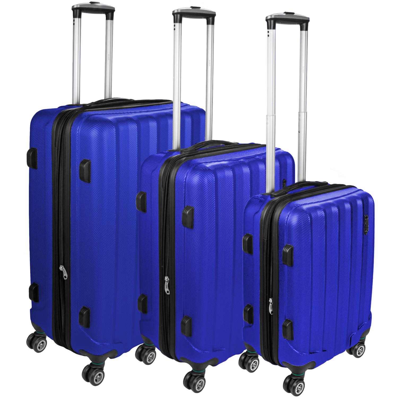 Set 3 Shaik Trolley-Koffer aus formstabiler, kratzfester Hartschale Dunkelblau SH001