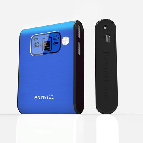 NINETEC 10000mAh PowerBank Externer Akku blau NT-565