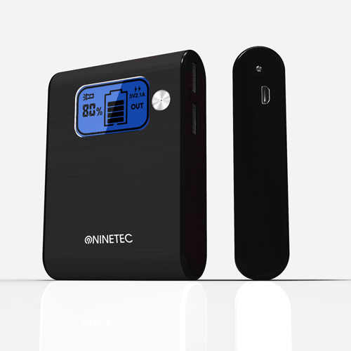 NINETEC 10000mAh PowerBank Externer Akku schwarz NT-565