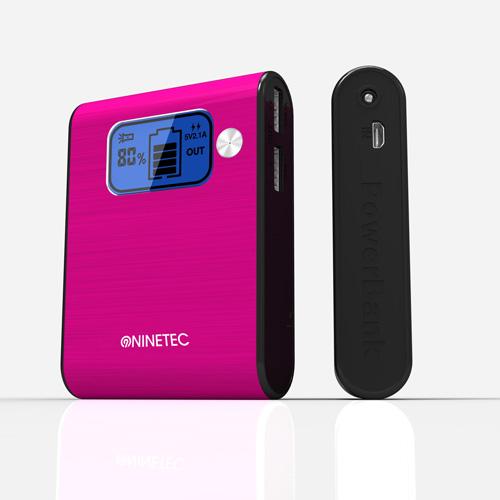 NINETEC 10000mAh PowerBank Externer Akku pink NT-565