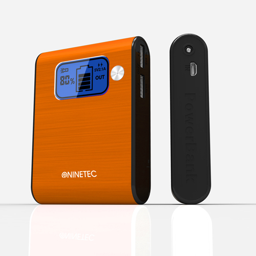 NINETEC 10000mAh PowerBank Externer Akku orange NT-565