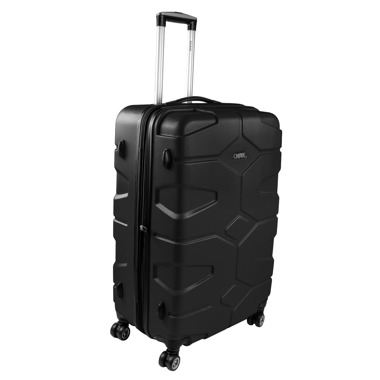 Shaik Razzer Trolley-Koffer aus formstabiler, kratzfester Hartschale XL Schwarz SH002