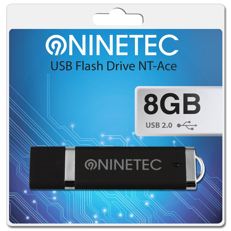 NINETEC Ace 8 GB 2.0 USB Speicher Stick Schwarz