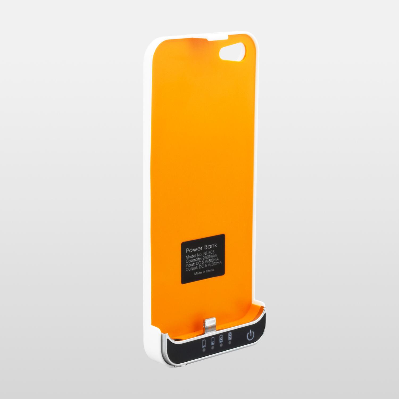 NINETEC 2600mAh Power Case Schutzhülle mit Akkufunktion für iPhone 5S 5C 5 White