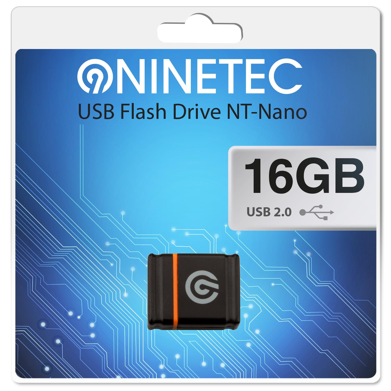 NINETEC Nano 16 GB 2.0 USB Speicher Stick Schwarz