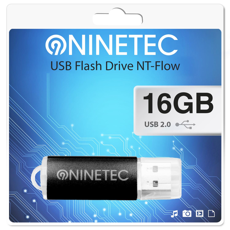 NINETEC Flow 16 GB 2.0 USB Speicher Stick Schwarz