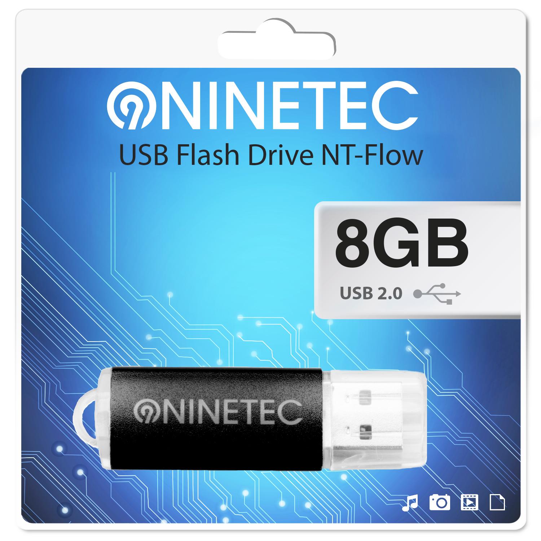NINETEC Flow 8 GB 2.0 USB Speicher Stick Schwarz