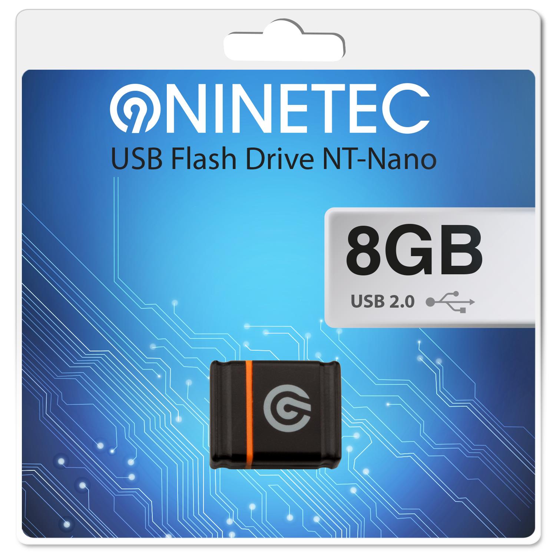 NINETEC Nano 8 GB 2.0 USB Speicher Stick Schwarz